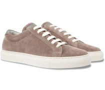 Leather-trimmed Nubuck Sneakers - Taupe