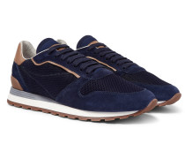 Leather And Suede-trimmed Mesh Sneakers - Navy