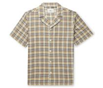 Camp-Collar Checked Cotton Shirt