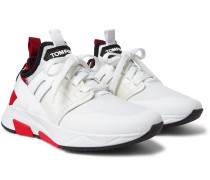 Jago Neoprene, Suede And Mesh Sneakers - White