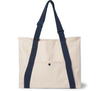 + Pilgrim Surf + Supply Webbing-Trimmed Logo-Embroidered Cotton-Canvas Tote Bag