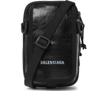 Arena Logo-Print Crinkled-Leather Pouch