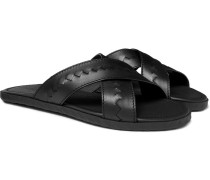 Intrecciato Leather Sandals - Black