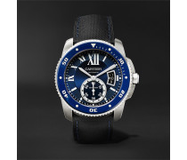 Calibre de Cartier Diver Automatic 42mm Stainless Steel and Leather Watch, Ref. No. CRWSCA0010