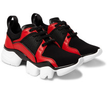 Jaw Neoprene, Leather And Mesh Sneakers - Black