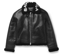 Printed Shearling Bomber Jacket