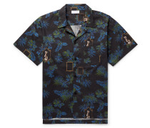 Camp-collar Printed Cotton-poplin Shirt