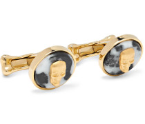 Gold-tone And Marble Cufflinks