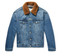 Shearling-trimmed Embroidered Denim Jacket