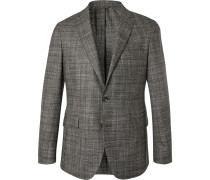 Grey Unstructured Checked Mouline Wool, Silk And Cashmere-blend Blazer - Gray