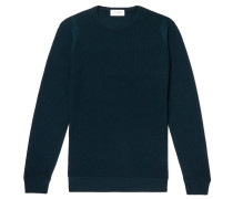 Slim-fit Honeycomb-knit Merino Wool Sweater - Dark green