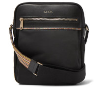 Webbing And Leather-trimmed Shell Messenger Bag - Black