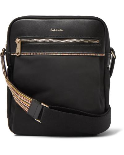 Webbing And Leather-trimmed Shell Messenger Bag - Black