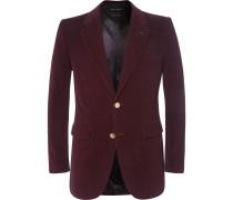 Burgundy Slim-fit Cotton-corduroy Blazer