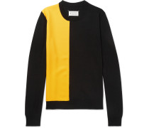 Twill-panelled Wool Sweater - Black