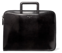 Leather Zip-around Portfolio - Black