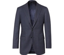 Navy Prince of Wales Checked Wool Suit Jacket