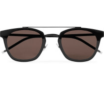 Aviator-style Black Metal Sunglasses - Black