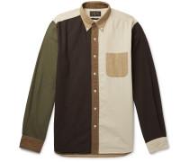 Button-Down Collar Colour-Block Cotton-Seersucker Shirt