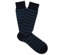 Stanway Striped Merino Wool-blend Socks - Navy