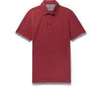 Slim-fit Jersey-trimmed Cotton-piqué Polo Shirt - Burgundy