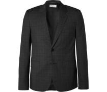 Dark-grey Slim-fit Checked Virgin Wool-blend Suit Jacket