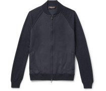 Stretch-cashmere Zip-up Cardigan - Navy