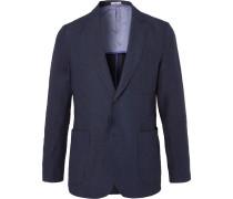 Indigo Slim-fit Unstructured Linen Blazer - Indigo