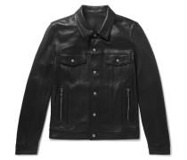 Logo-print Leather Jacket - Black