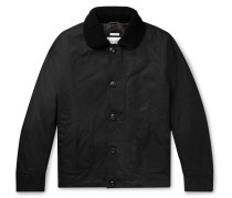 Shearling-Trimmed Waxed-Cotton Jacket