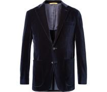Midnight-blue Kei Slim-fit Cotton-velvet Blazer
