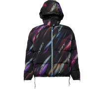 Reversible Quilted Printed Shell Hooded Down Jacket
