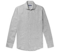 Cutaway-Collar Mélange Linen Shirt