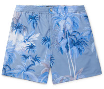 Short-length Printed Swim Shorts - Blue