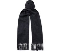 Two-tone Fringed Cashmere Scarf - Gray