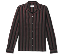 Marco Frequency Camp-collar Striped Woven Shirt - Plum