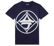 Indigo-Dyed Printed Cotton-Jersey T-Shirt