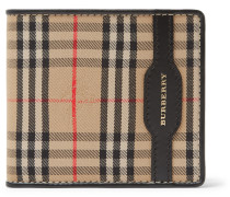 Checked Twill And Leather Billfold Wallet - Tan