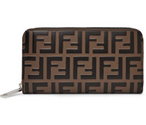 Logo-embossed Leather Zip-around Continental Wallet - Brown