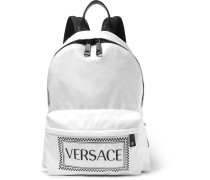 Leather-trimmed And Logo-printed Shell Backpack - White
