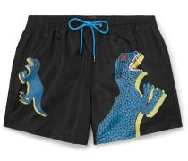 Slim-fit Mid-length Printed Shell Swim Shorts