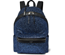 City Leather-trimmed Sequinned Canvas Backpack