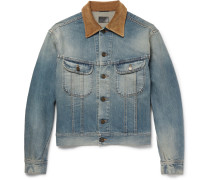 Corduroy-trimmed Washed-denim Jacket