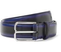 3cm Blue Leather Belt - Black