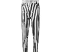 Slim-fit Cropped Striped Twill Trousers