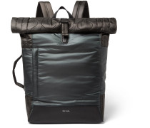 Quilted Nylon And Leather Backpack - Dark gray