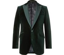 Brown Slim-Fit Faille-Trimmed Cotton-Velvet Tuxedo Jacket