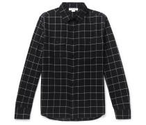 Windowpane-checked Cotton-flannel Shirt - Black