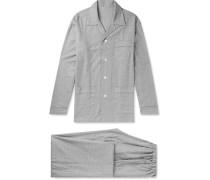 Prince Of Wales Checked Brushed-cotton Pyjama Set - Gray