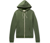 Loopback Mélange Stretch Cotton-blend Jersey Zip-up Hoodie - Green
